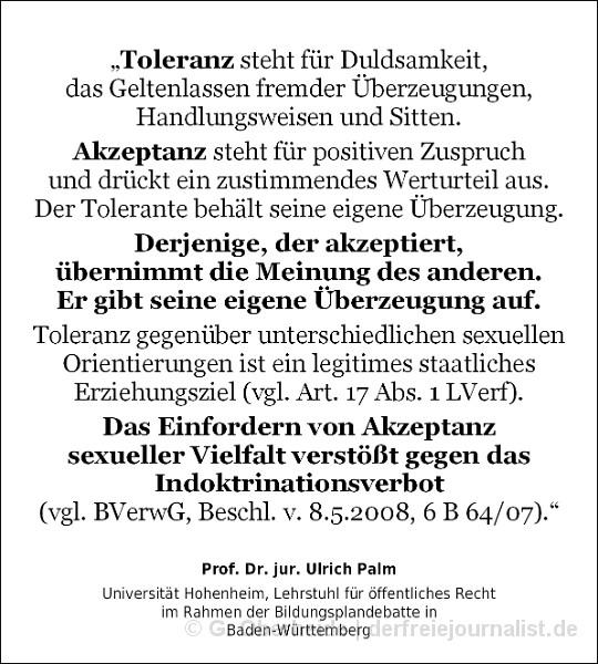 Zitat von Prof. Palm zum Unterschied zwischen Akzeptanz und Toleranz