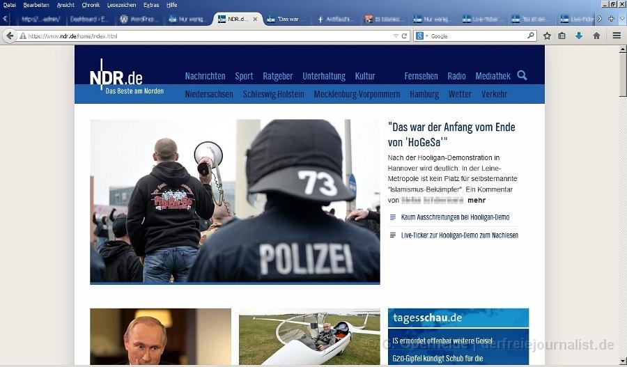 Auf der Startseite von NDR.de ein Kommentar als Startbeitrag