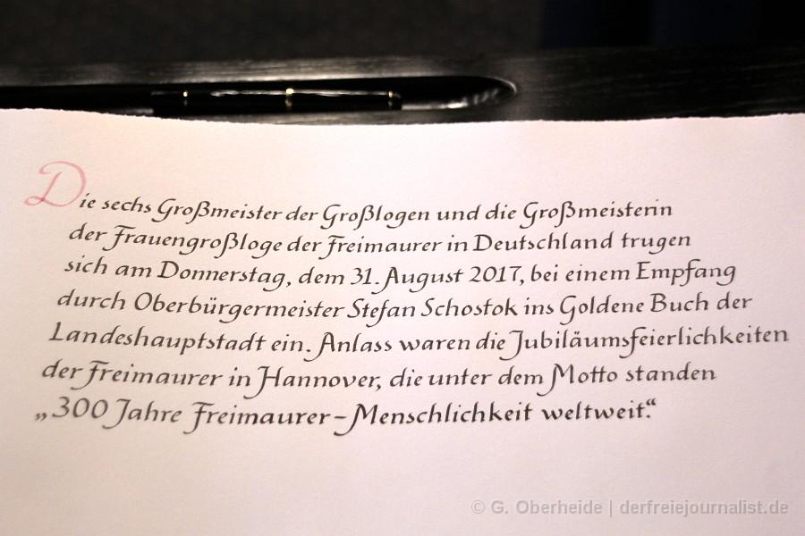 Eintragung der Freimaurer in das Goldene Buch der Stadt Hannover